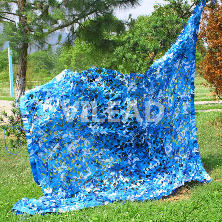 VILEAD 5M*5M Filet Camo Netting Blue Camouflage Netting Sun Shelter Served As Decor And Covered Venue Party Theme Party Camping 5m 9m filet camo netting blue camouflage netting sun shelter served as theme party decoration beach shelter balcony tent