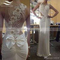 Scoop Sexy Chiffon Beach Wedding Dress 2017 Chiffon Wedding Dress Beaded Mermaid Wedding Gown Casamento Vestido