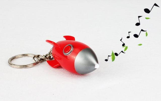 Space-rocket Led Keychain Sound & Light Rocket model Key ring Cover Holder Boutique Small Creative Action Toy Figure For gifts