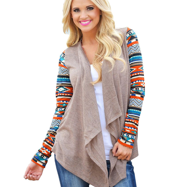 Plus Size 5XL Cardigans Womens Vintage Irregular Printed Knitted ...