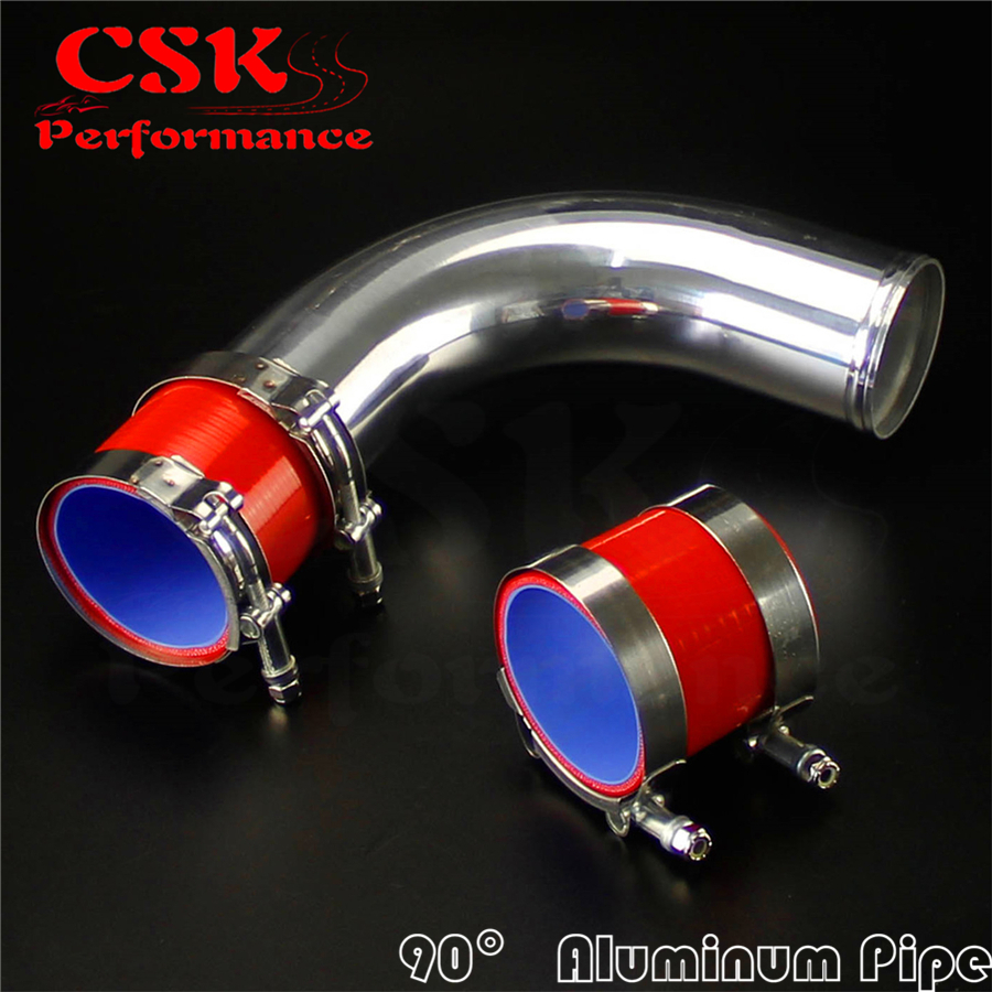 "90 degree 63mm 2.5/"" Aluminum Turbo Intercooler tube Pipe+silicon hose+clamp BLUE"