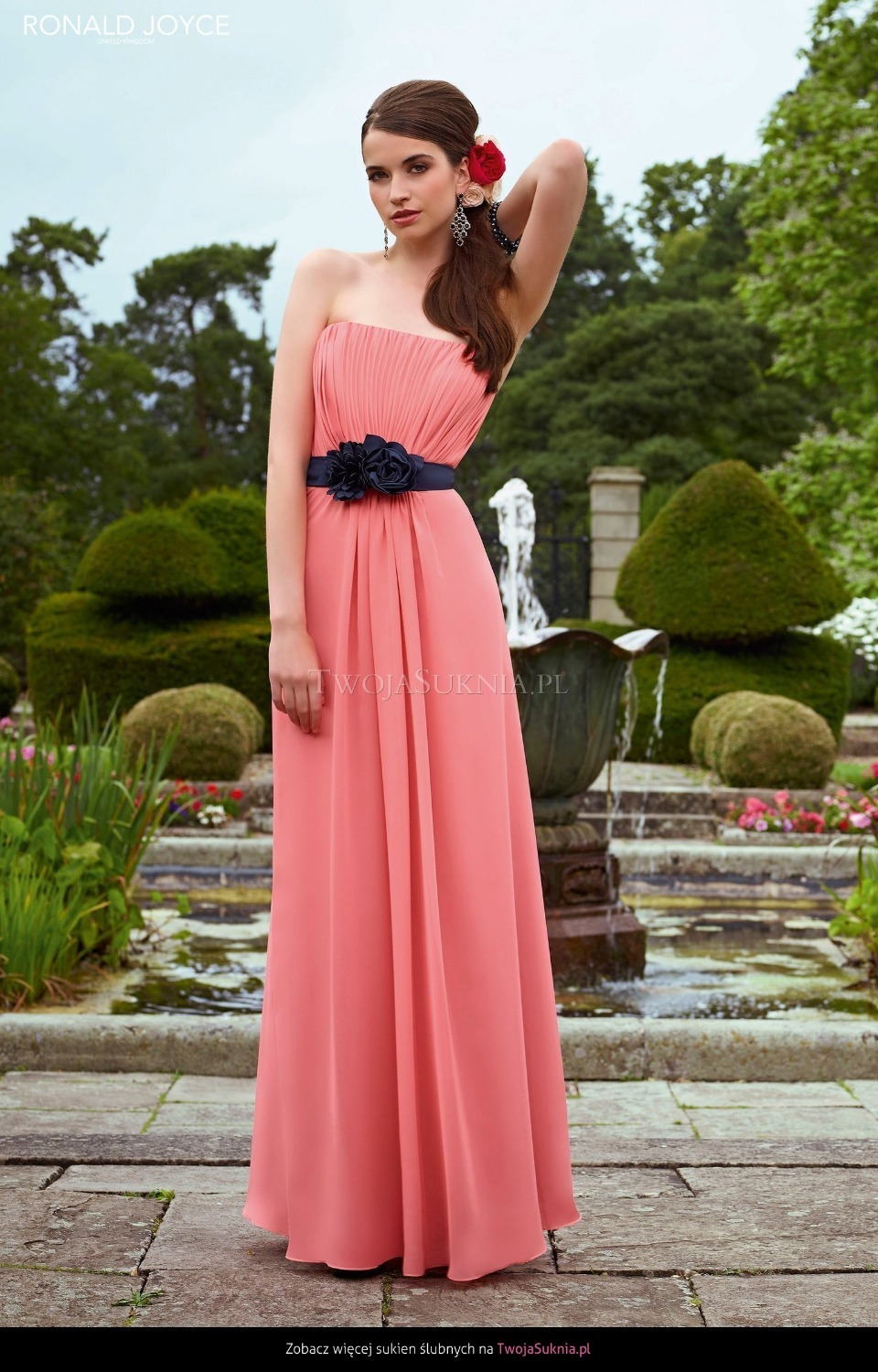 Popular bridesmaid dresses watermelon buy cheap bridesmaid dresses watermelon chiffon bridesmaid dresses strapless ruched bodice a line floor length bridesmaid gown with navy ombrellifo Images