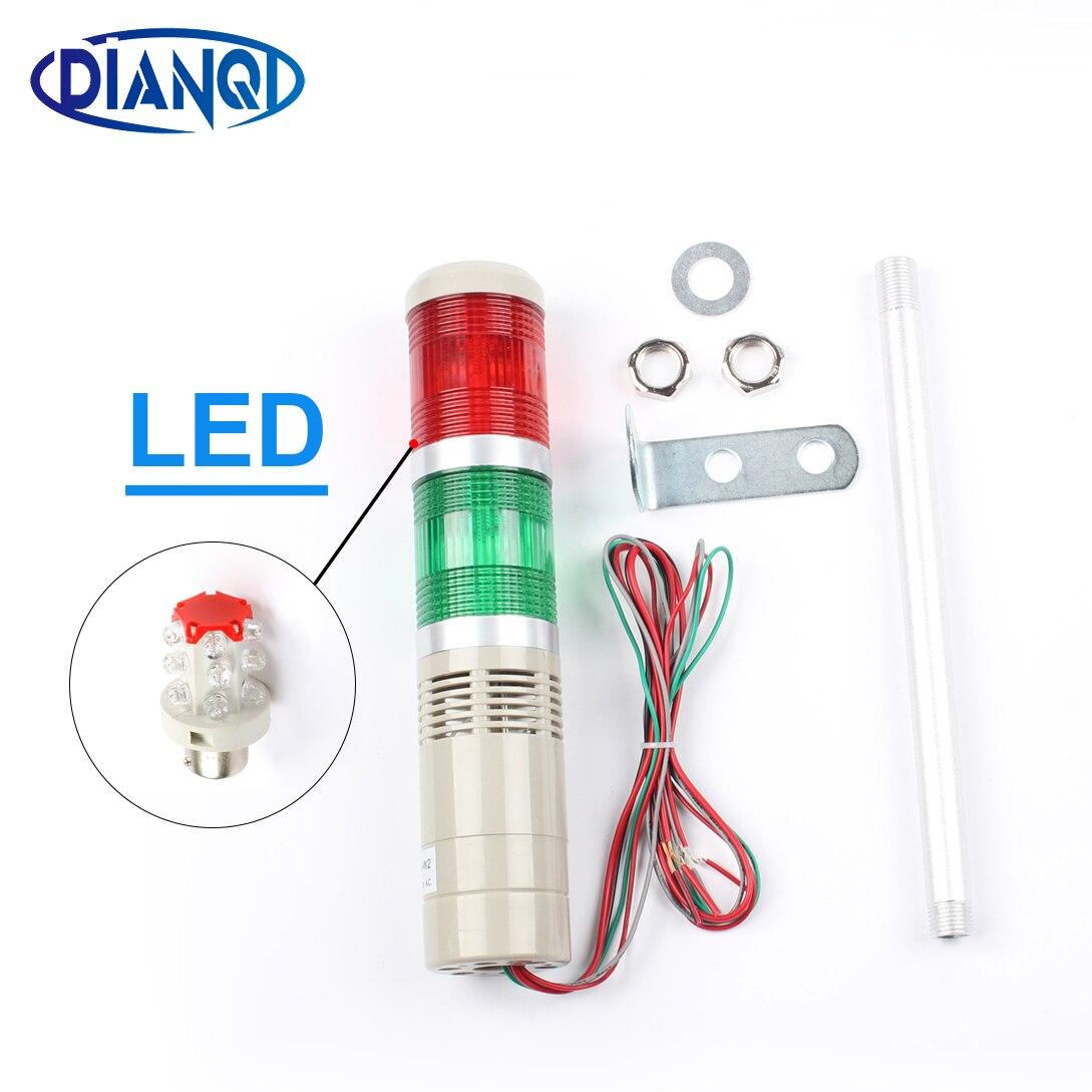 Led Ac220v 110 V Dc 12 V 24 V Sécurité Pile Lampe Rouge Vert Jaune Flash Tour Industrielle Signal Lumineux Lta-505 Rouge Et Vert 2 Couches