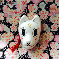 2018 Hot New Full Face Hand Painted Hotarubi no Mori e Cosplay Fox Masks Halloween Party Cosplay Cartoon Cat Character Costumes