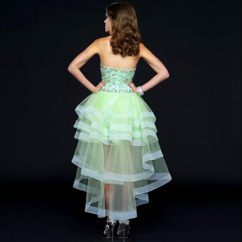f8543337ec vestido de formatura Mint Green High Low Front Short Long Back Nice Prom  Dresses Rhinestone Party Dress Robe de Soiree-in Prom Dresses from Weddings  ...