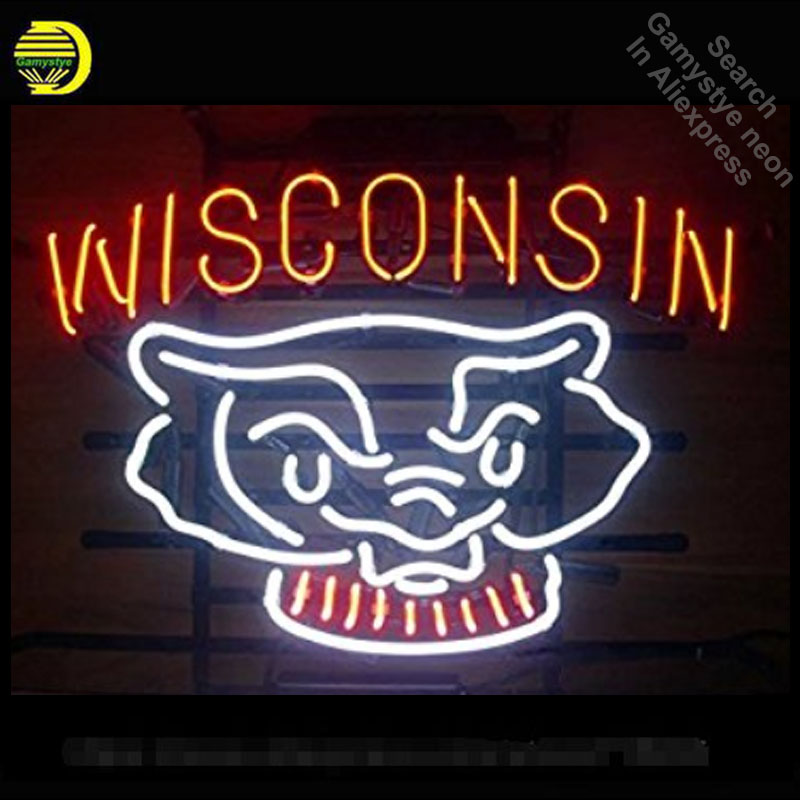 Wisconsin Badger Neon Sign neon bulbs Sign neon lights Real Glass Tube Handcraft Recreation Iconic Sign store Display 17X14
