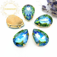 Light green AB Dazzle color Water drop Glass Crystal sew on rhinestones with GOLD four claw Diy weddingdress Free shipping(China)