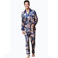 2 ADET Erkek İpek Saten Uzun Kollu Ejderha Pijama Pijama Set pijama Set Erkek Ipeksi Loungewear L XL XXL Hepsine uyar mevsim