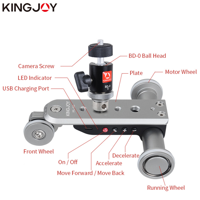KINGJOY Official PPL 06S Mini Motorized Track Slider Dolly Car Timelapse Panoramic Ballhead For Phone Camera Time Lapse Rotator in Rail Systems from Consumer Electronics