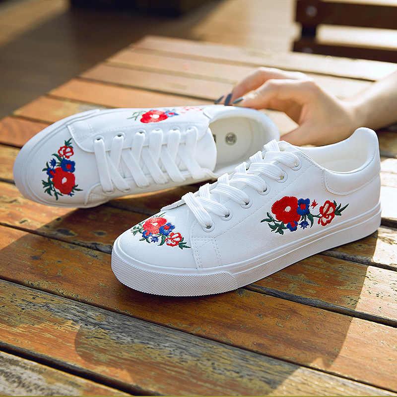 2018 printemps automne femmes mode décontracté à lacets broderie blanc vulcaniser chaussures femme course sport baskets chaussures marque Sexy