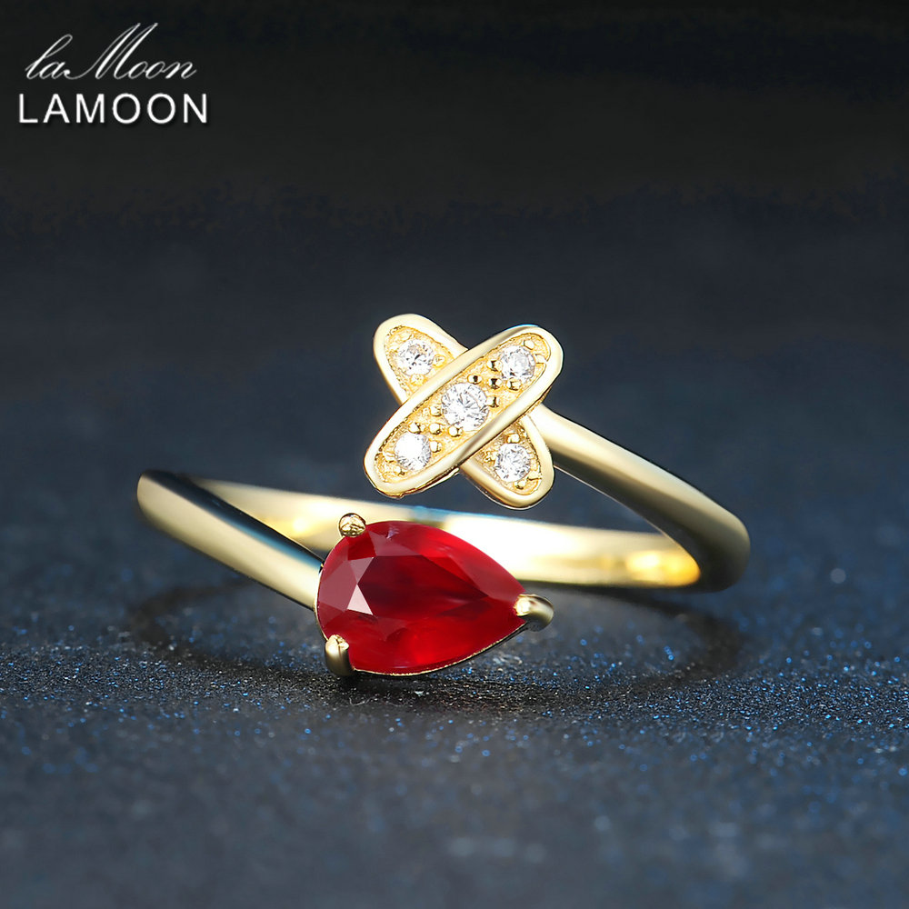 LAMOON 2017 New Romantic Cross Teardrop Real Natural Ruby Rings S925 Sterling Silver Jewellry for Women Party LMRI056
