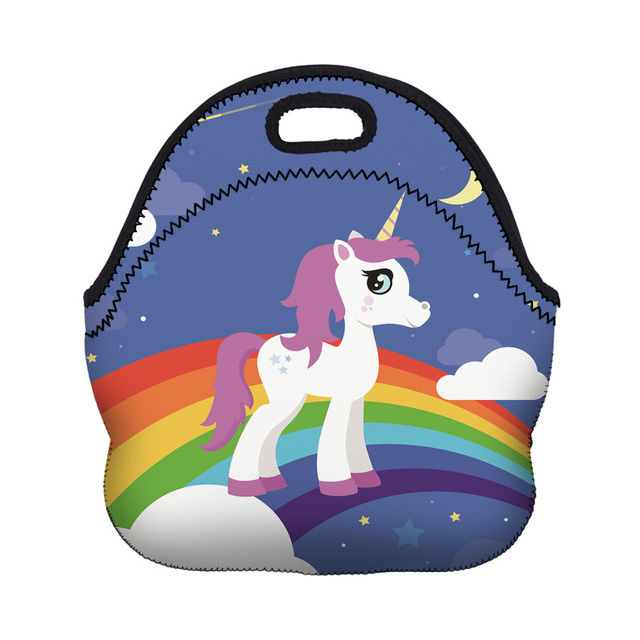 Cute Lunch Bags 3D Printed Unicorn with Zipper for Picnic