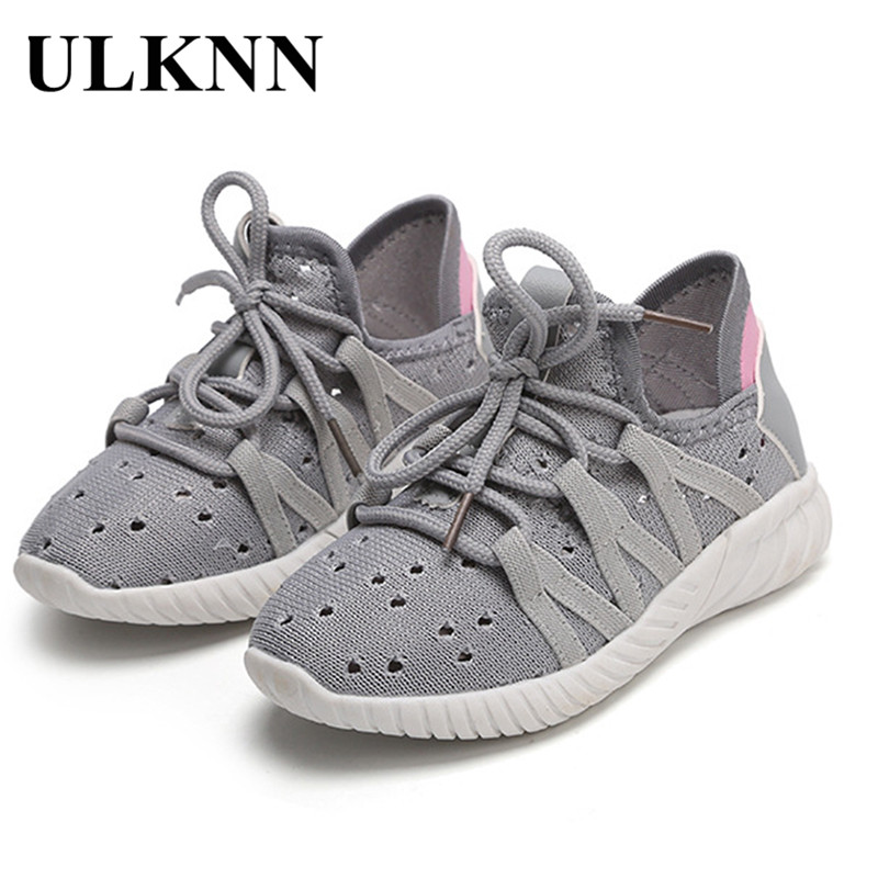 ULKNN 2018 New Spring Kids Shoes For Girls Boys Shoes Children School Casual Shoe Running Sneakers Soft Mesh Breathable Sneakers