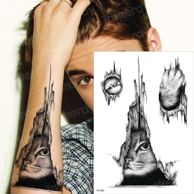 Waterproof Temporary Tattoo Sticker Cat Eye Tattoo For Boys Men Body Art Tatoo Sleeve Pattern Black Tattoos Water Transfer Paw