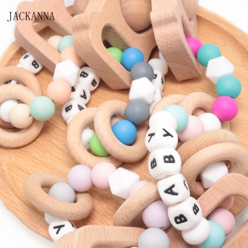 Personalized Name Camera Rattle Baby Teether Ring Toy Silicone