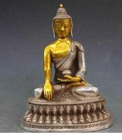 8 Chinese Buddhism Temple White Copper Silver Sakyamuni Rulai Buddha Statue decoration bronze factory outlets