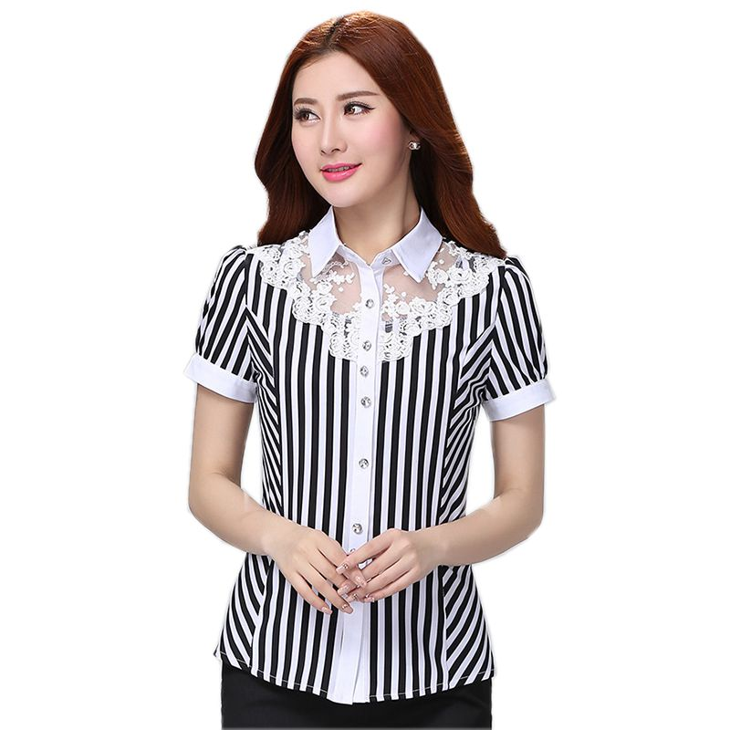 Fashion short sleeve women shirt OL Formal Business striped chiffon blouse elegant office ladies plus size 4XL wor wear tops