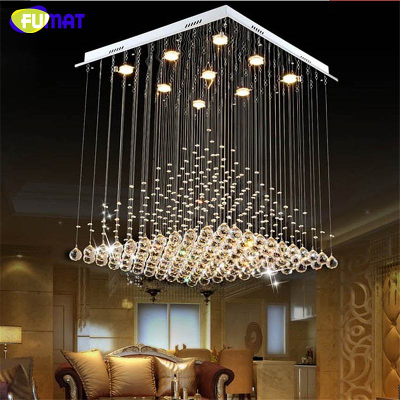 Fumat k9 crystal chandelier modern lustre hotel led crystal light fixtures living room lobby for The living room drop in center