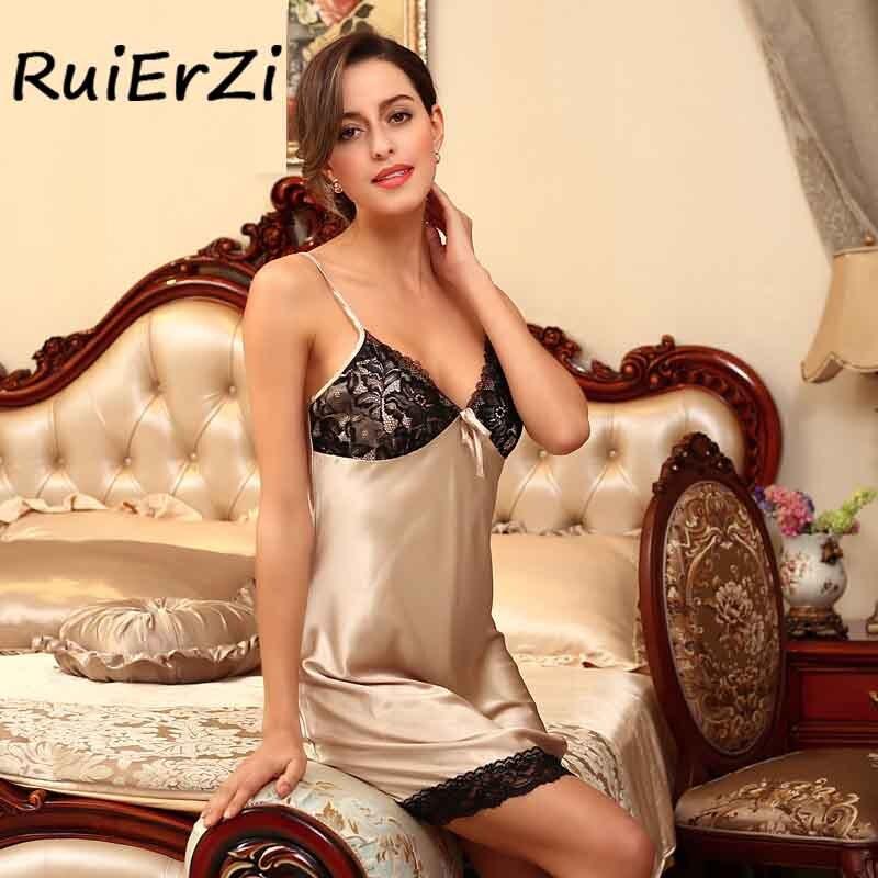 Sexy Ladies Silk Satin Night Dress Sleeveless Nighties Women Nightgown Nightdress Fashion Lace Patchwork Sleepwear Nightwear