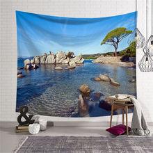 Nodic Sea Beach Mural Print Large Tapestry Hippie Wall Hanging Carpet Indian Mandala Throw Rug Blanket Camping Tent Home Decor