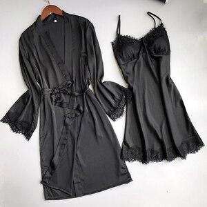 Image 3 - Фирменный соблазнительный женский халат с длинным рукавом Fiklyc, комплекты ночной рубашки на бретелях спагетти с банным халатом, женский кружевной атласный комплект для сна