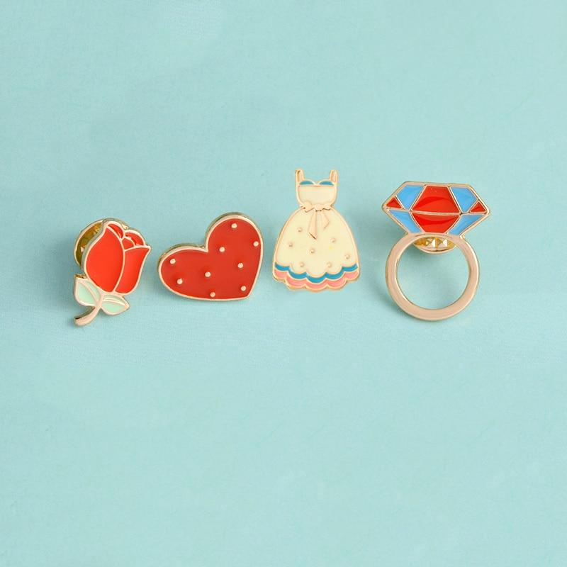 4pcs/set Rose Dress Loop Ringshaped Heart Enamel Brooch Button Pins Badge For Bag Hat Cute Cartoon Jewelry Gift For Girls Women