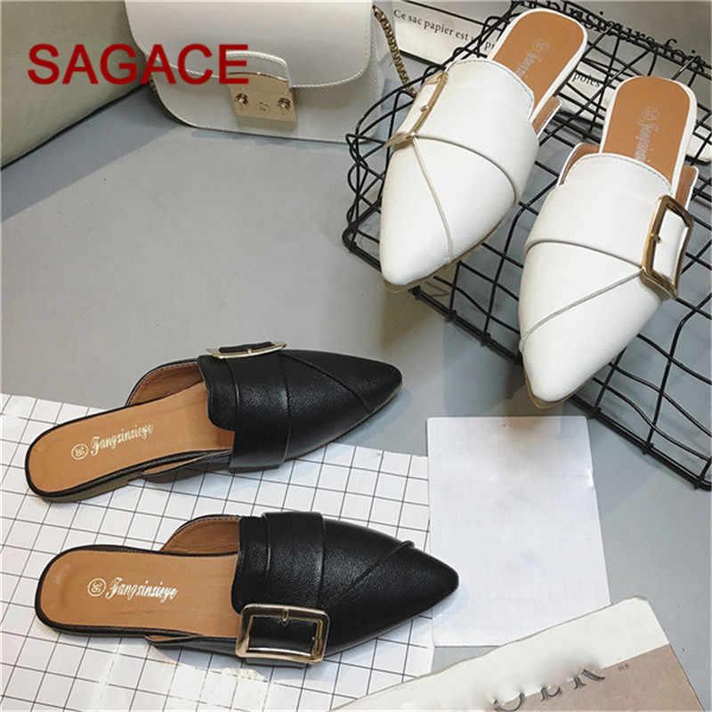 B-женские тапочки на плоской подошве; слипоны; женские повседневные туфли в британском стиле с цепочкой; Босоножки на платформе; Chaussure; обувь большого размера; шлепанцы