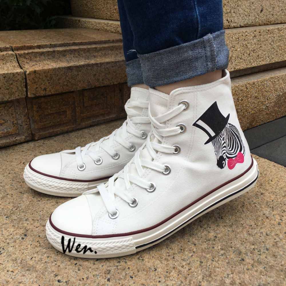 Wen White High Top Shoes Design Zebra with Black Hat Pink-bow Tie Canvas Sneakers Men Womens Gifts Presents