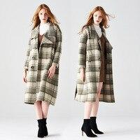 Двусторонняя кашемировые пальто 2018 autumnwinter новые двусторонние пальто Albaka Альпака плед зеленый верблюда однобортный шерстяное пальто