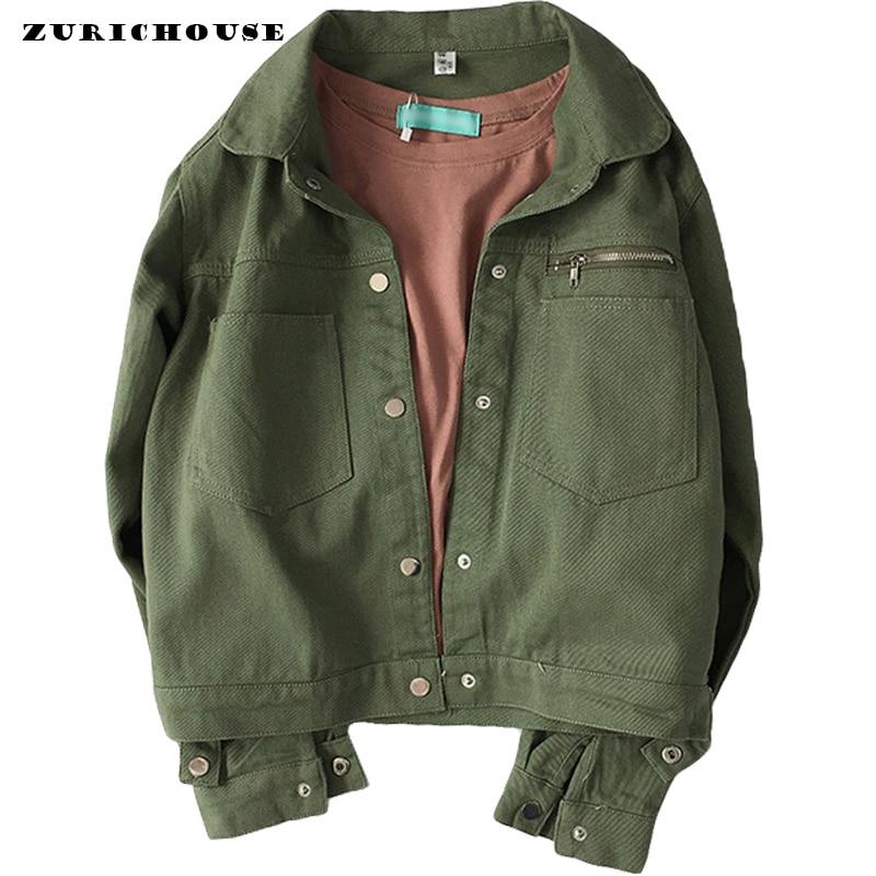 ZURICHOUSE Classic Jeans Jacket Woman Spring 2020 New Harajuku BF Style Long Sleeve Coat Green Denim Jacket Women's