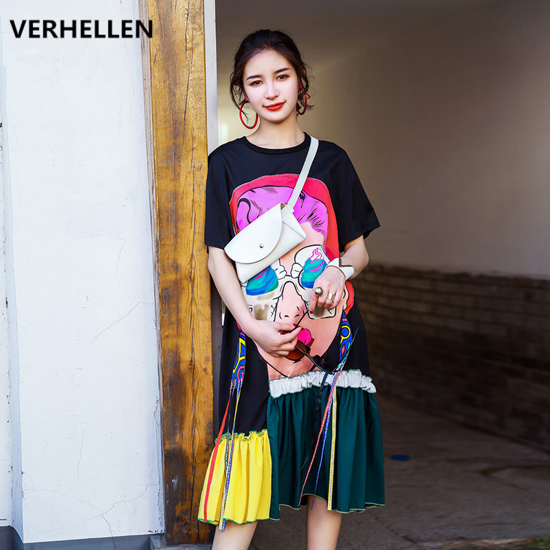 VERHELLEN High Quality Fashion Designer Runway Dress 2019 Summer Women Short Sleeve Character Graffiti Print Loose
