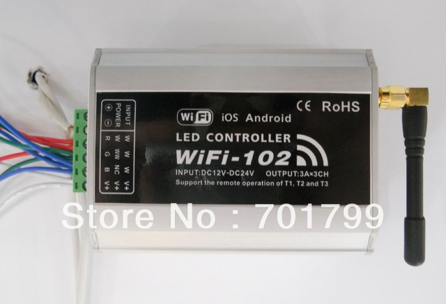WIFI-102;LED wifi controller,controller single color,2colors,RGB led strip,max 5A*3 channel output,Androis and IOS supported