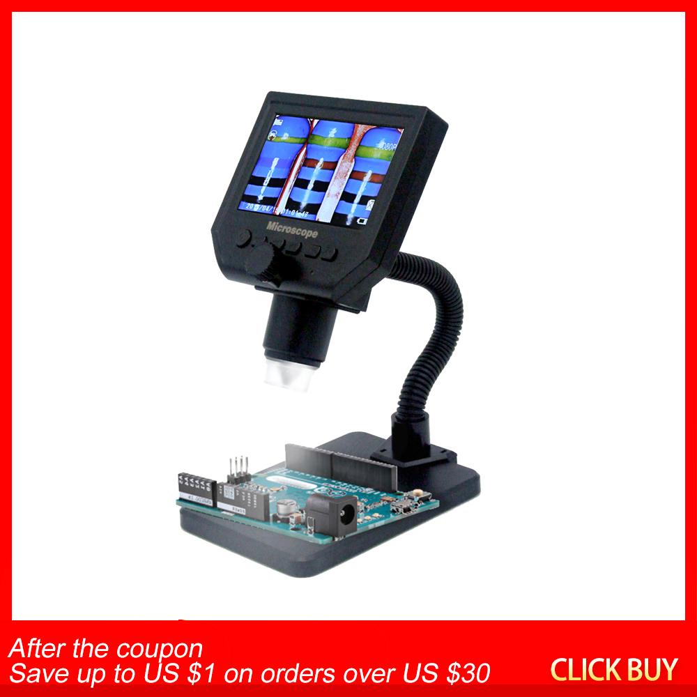G600 600X HD Portable LCD Digital Microscope LED Magnifier microscopio with High Brightness 8 LEDs and