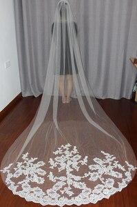 Image 4 - Bride Veils White/Ivory Applique Tulle 3 meters veu de noiva long wedding veils bridal accessories lace bridal veil v1105