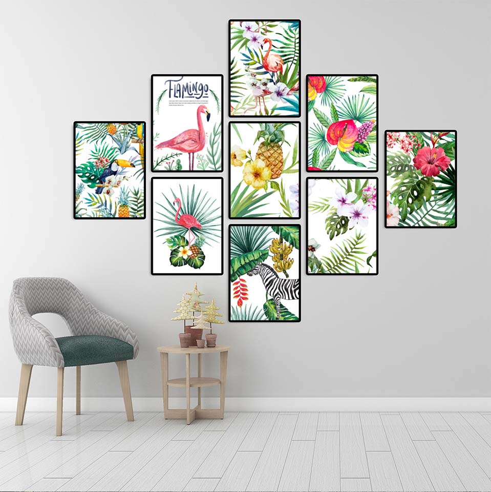 Home Decoration Wall Art Poster And Print Canvas Painting Decorative Pictures  For Living Room Tropical Plants Flamingo