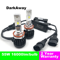 DarkAway H11 LED Headlight H7 H8 H9 H1 9005 9006 H4 Car Light Auto Headlamp 55W 16000Lm/Bulb Super Bright 12 24V Automotive Lamp
