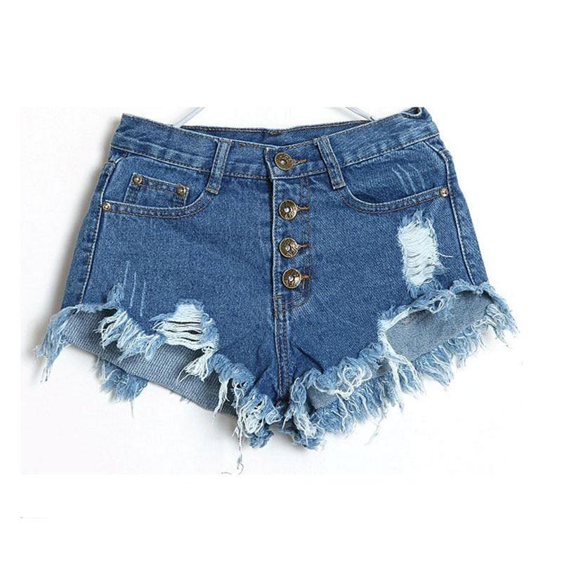 Denim Shorts Jeans Women New 2018 Summer Fashion Ladies Tassel Hole High Waist Sexy Mini Shorts ...