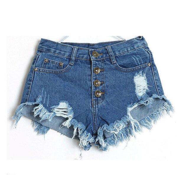 72f43e748 Shorts jeans Mulheres 2019 Moda Senhoras Borla Buraco Short Jeans de Cintura  Alta Verão Sexy Mini