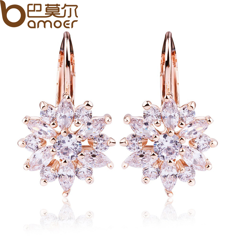 font b BAMOER b font Luxury Champagne Gold Flower Stud Earrings with Zircon Stone Women