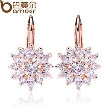 BAMOER 3 Colors Luxury Gold Color Flower Stud Earrings with Zircon Stone Women Birthday Gift Bijouterie JIE014