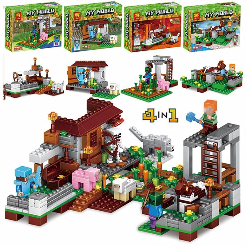 390pcs Model Building kits Brinquedos set Figures Toys Minecraft Sword Espada Compatible with Legoings For boys/girls 4Pcs/set кошелек minecraft sword