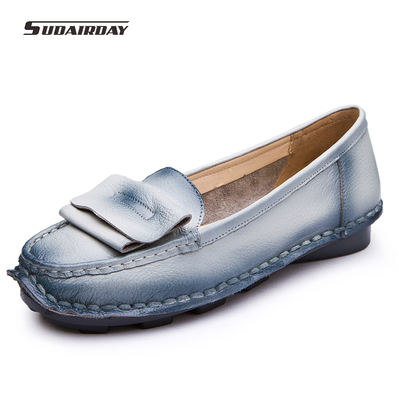Vintage Women's Handmade Shoes Genuine Leather Flat Woman Loafers  Soft Outsole Single Casual Shoes Women Flats  Female Footwear