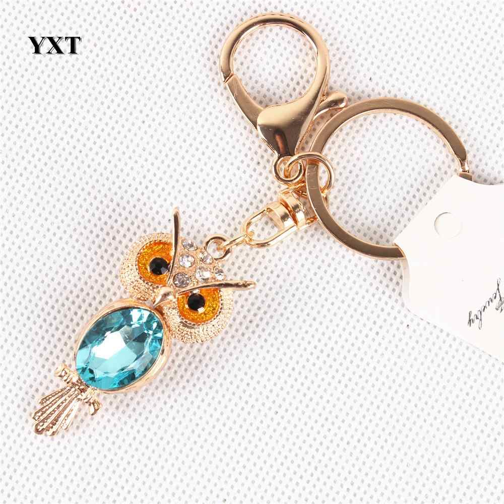 Animal Mini Owl Lovely Charm New Design Cute Crystal Pendant Purse Bag Key Ring Chain Creative Wedding Party Best Gift