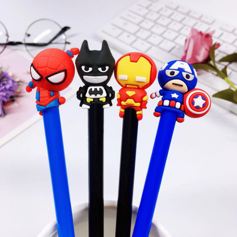 4 Pcs/set Cute 0.5mm Super Hero Spiderman Captain America Iron Man Gel Pens Student Writing Signature Pens Korean Stationery