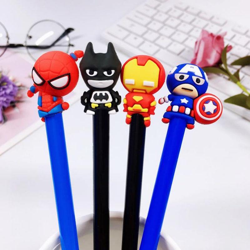 4 Pcs/set Cute 0.5mm Super Hero Spiderman Captain America Iron Man Gel Pens Student Writing Signature Pens Korean Stationery