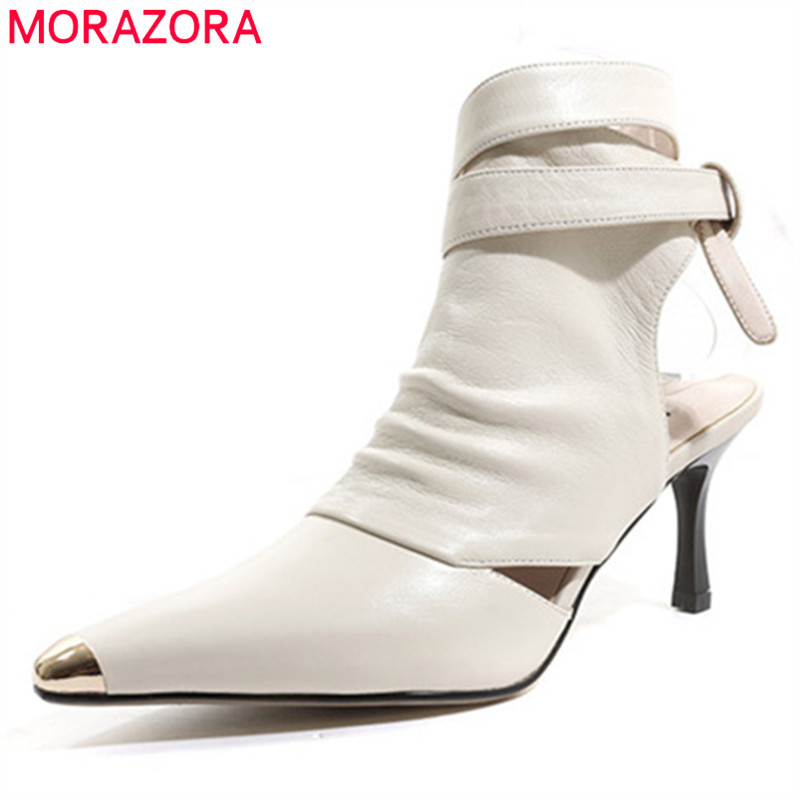MORAZORA 2019 new arrival genuine leather shoes women ankle boots sexy gladiator summer boots thin heels