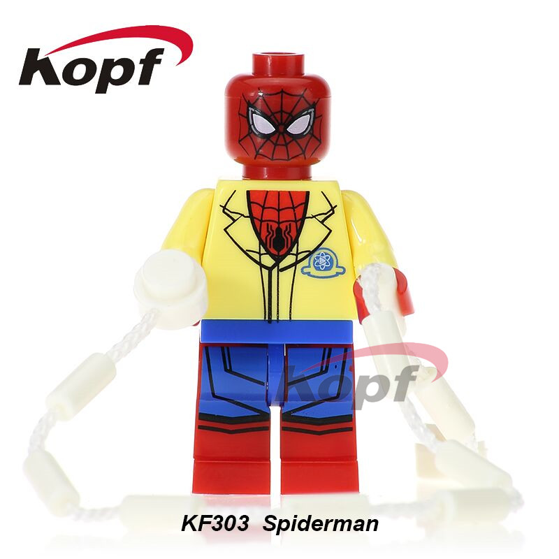 Single Sale Super Heroes Homecoming Spiderman With Hand Spidder&YOYO Ball Spider-man Building Blocks Children Gift Toys KF303 building blocks super heroes back to the future doc brown and marty mcfly with skateboard wolverine toys for children gift kf197