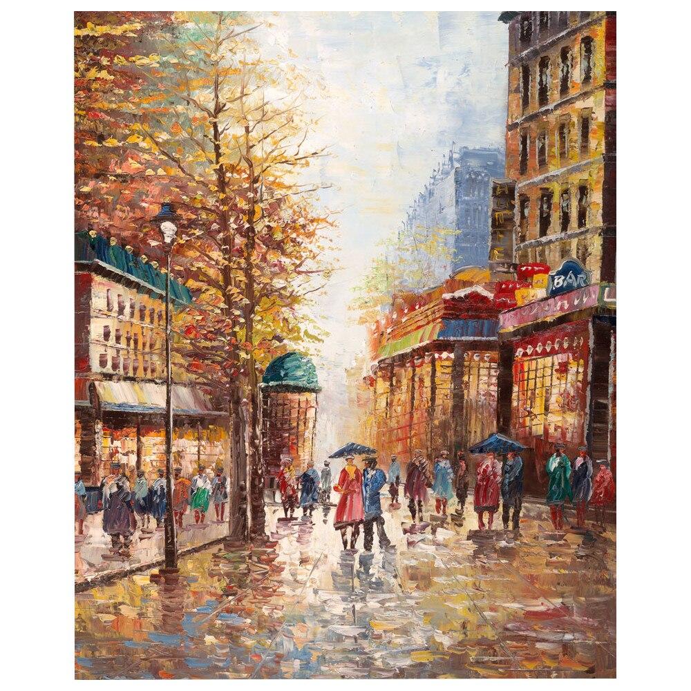 US $69 42 OFF Kanvas Seni Lukisan Minyak Lanskap Perancis Street Scene Warna Pisau Seni Dekoratif Kota Scapes Tangan Dicat Dekorasi Rumah Oil