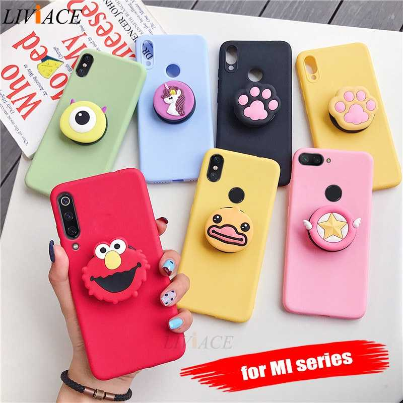 3D silicone cartoon phone holder case for xiaomi mi 9 mi9 se mi 8 lite mi8 a3 a2 a1 mix 2 2s 3 pocophone f1 9t cute stand cover