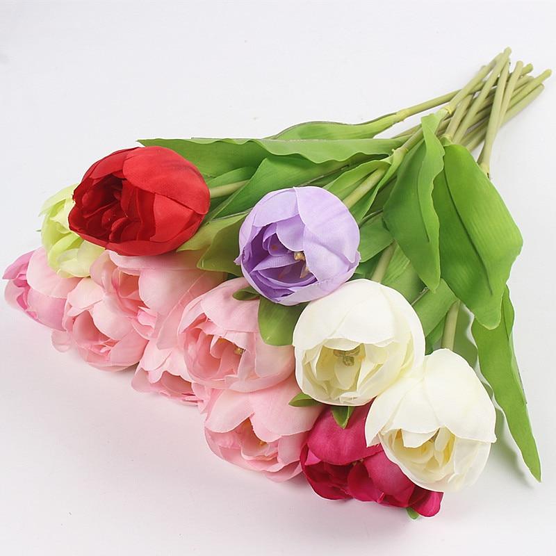 JAROWN Dirbtinis Tulpė Gėlių Šilko Gėlės Fake spalvinga - Šventės ir vakarėliai - Nuotrauka 2